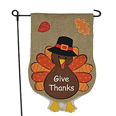 Thanksgiving Garden Flag With Give Thanks Turkey - 12x18 on Burlap - Fall Garden Flag, Home Garden Flag, Autumn Garden Flag
