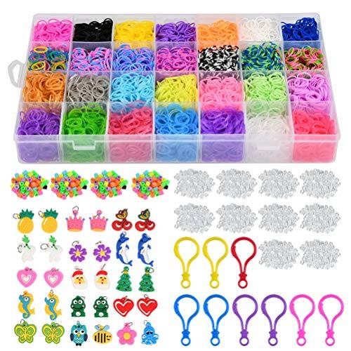 POKIENE Kit De Bandas De Goma De Colores con Cuentas para Pulseras, 28 Bandas De Colores y Hebillas De Plástico para Telar Manual De Bricolaje con Cuentas y Herramientas (11250 +)