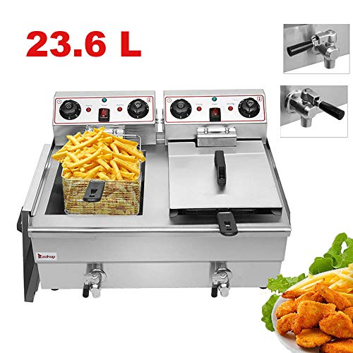 Commercial Deep Fryer with 2 Basket 24.9QT/23.6L Stainless Steel Electric Countertop Deep Fryer Basket French Fry Restaurant Home Kitchen, 110V/3000W Max