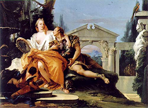 "Giovanni Battista Tiepolo Rinaldo and Armida in The Garden 1752 Martin von Wagner Museum Wurzburg 24"" x 17"" Fine Art Giclee Canvas Print (Unframed) Reproduction"