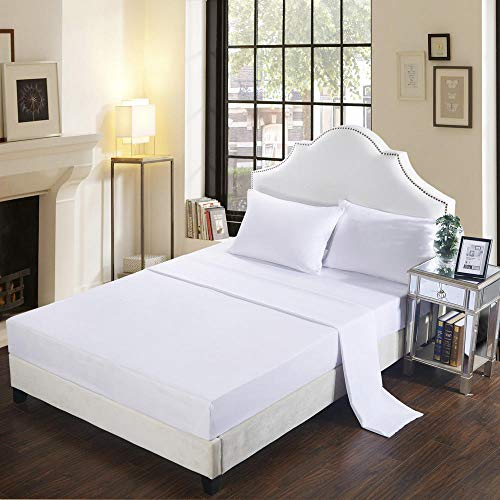 GTWOZNB Bed Sheets, Ultra Soft Silky Smooth and Wrinkle-Resistant Pure Color Brushed Bed Sheet-10-White_198*203cm