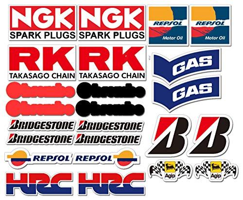 Ti El Es Lot de 24 autocollants en PVC - Pour sport automobile, course, moto, voiture - Laminé - Pour moto GP - Sponsors