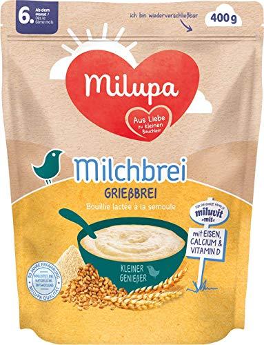 Milupa Milchbrei Grießbrei miluvit mit Kleine Genießer ab dem 6. Monat, 4er Pack (4 x 400 g)