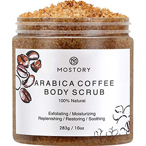 Exfoliating Dead Sea Salt Body Scrub - Arabica Coffee Organic Natural Scrubing Moisturizing Foot Leg Soft Scrubs For Women Men Cellulite Exfoliator Anti-Acne Wrinkles Vitamin E Hyaluronic Acid Coconut Oil 10 oz