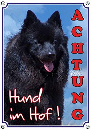 Petsigns Warnschild vom Großspitz - Hundeschild aus 1,5 mm Metallplatte - TOP, 1. DIN A5