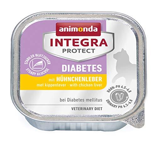 animonda Integra Protect Diabetes Katze, Diät Katzenfutter, Nassfutter bei Diabetes mellitus, mit Hühnchenleber, 16 x 100 g