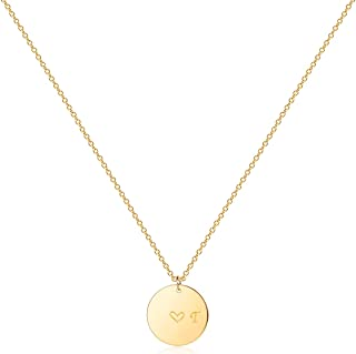 Gold Initial Pendant Necklaces,14K Gold Filled Engraved Disc Personalized Name Dainty Handmade Cute Heart Initial Tiny Pen...