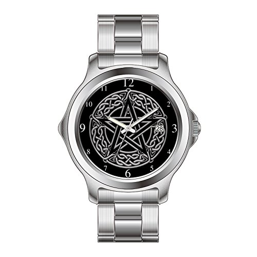 FDC Christmas Gift Watches Men's Fashion Japanese Quartz Date Stainless Steel Bracelet Watch Celtic Pentacle Chrome on Black