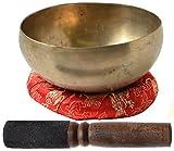 BUDDHAFIGUREN Ciotola di canto tibetano buddista fatto a mano - 150 g - 200 g con accessori, set di 3 pezzi - tipo khopre, bronzo