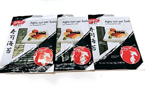 Alghe Nori per Sushi Tris - 3 Confezioni da 10 fogli 75 g
