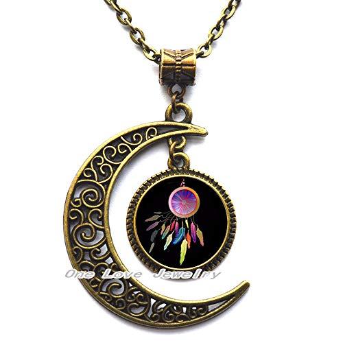 Ni36uo0qitian0ozaap Collar colgante de patrón de atrapasueños de plumas para hombres y mujeres accesorios de ropa collar joyería, TAP256