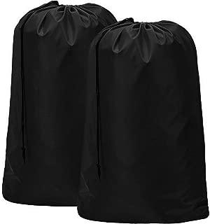 HOMEST 2 Pack Nylon Laundry Bag, 28 x 40 Inches Travel Drawstring Bag, Rip-Stop Large Hamper Liner, Machine Washable, Black