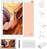 Tablet 10 Pollici con Wifi Offerte Tablet PC 4G LTE Dual SIM /WiFi tablet Android 8.0 con 3GB di RAM e 32GB ROM Batteria 8000mAh-(Sblocco Facciale,Supporta Netflix)Bianco/Oro