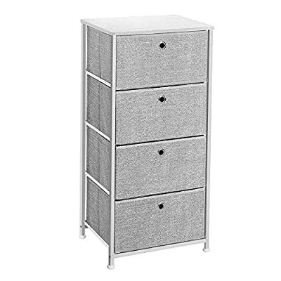 SONGMICS 4-Tier Dresser Units Storage Cabinet with 4 Easy Pull Fabric Drawers, 17.7'', Light Gray