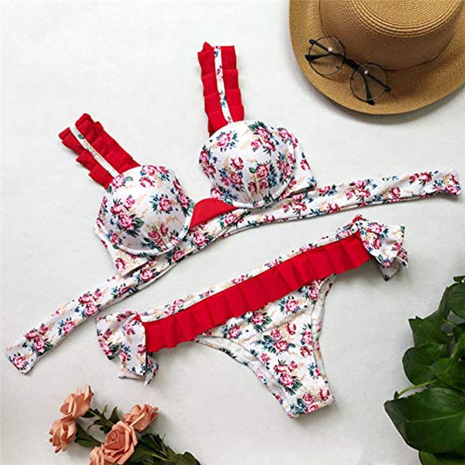 HITSAN Hot Push up Bow Bikini 2018 Female Print Lace Swimsuit Women Swimwear Two-Pieces Bikini Set Bather Bathing Suit Swim Lady color White Size S