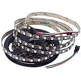 CHINLY 5m 300leds WS2812B Individuell adressierbar LED Streifen Licht SMD5050 RGB 300 Pixels Traumfarbe Nicht wasserdicht Schwarz PCB 5V DC