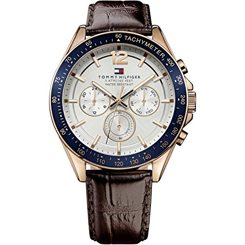 Tommy Hilfiger Mens Quartz Watch, multi dial Display and Leather Strap 1791118