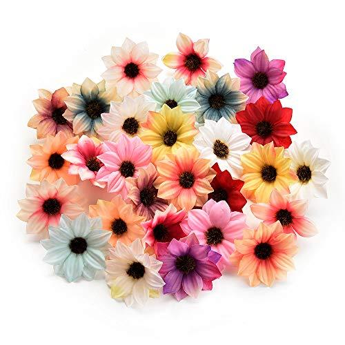 Seidenblumen in loser Schüttung Großhandel Rose Kunstseide Daisy Rose Blumen Wandköpfe für Zuhause Hochzeitsdekoration DIY Kranz Zubehör Handwerk Gefälschte Blume 80 Stücke 5 cm (Multicolor random)