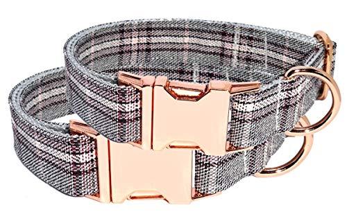 BGDesign Hundehalsband roségold Glencheck elegant edel Halsband verstellbar Made IN Germany Klickverschluss 38-53 cm x 2,5 cm