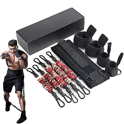 HORKEY Juego de bandas de resistencia para entrenamiento de boxeo, equipo de fitness, combate completo, entrenamiento de resistencia para hombres y mujeres, 125 LB