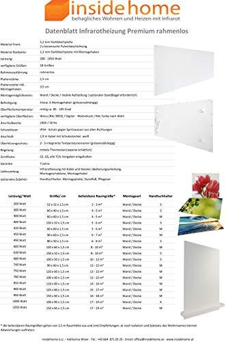 insidehome Infrarotheizung Bildheizung PREMIUM rahmenlos mit Bild 900 Watt 120x60x15 cm Bild 6*