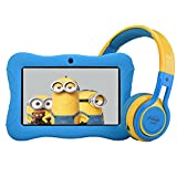 Contixo 7' Educational Learning Kids Tablet & Kid Safe 85dB Bluetooth Over The Ear Headphones Bundle (Light Blue)