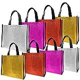 VINLINGDAI Borsa Shopping Non Tessuta, Borsa per la Spesa Riutilizzabili Lucidi,Grandi Sacchetti Regalo con Manico per sostituire i Sacchetti di Carta(8 Pezzi)