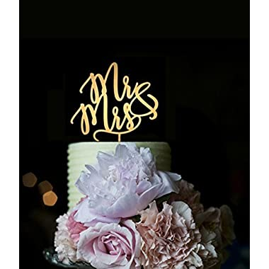 Wedding Cake Toppers Mr and Mrs for Cake Decorations Mirror Gold