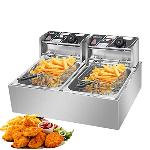 Heavy Duty Deep Fryer, 12.7QT/12L Stainless Steel Large Double Cylinder Electric Fryers with Removable Basket and Professional Heating Element, 110V/5000W Max US Plug