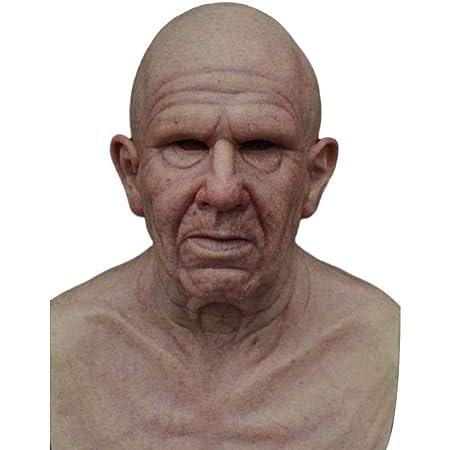 taianle Hombre Adulto Máscara Fiesta de Halloween Máscara de Látex Elder Old Man Headgear for Masquerade Halloween Realista Headgear for Cosplay Party Props