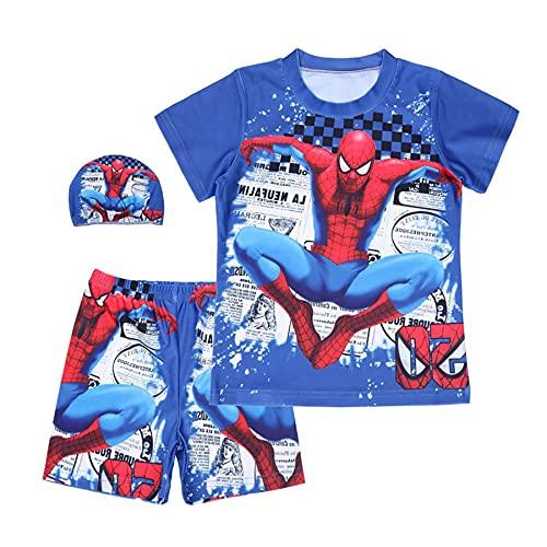 MYYLY Garçon Maillots De Bain Super-héros Cosplay Spiderman Enfants Maillot Dessin Animé Natation Costume Sport Bébé Vêtements Plage Vêtement,Blue-XL Kids (130~140CM)