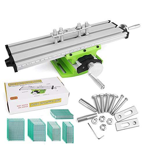 Máquina de mesa de trabajo de la fresadora, artesana168 Máquina de fresar miniatura Mesa de taladrar de la tabla de cruz Máquinas de mesa multifunción con mesa de la diapositiva de la perforación
