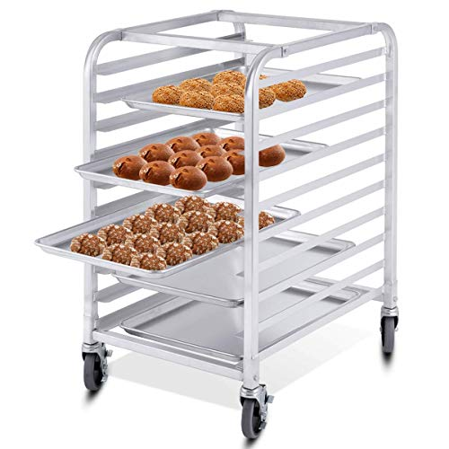 ReunionG 10 Tier Bun Pan Rack, Bakery Rack with 2 Lockable Wheels, 10 Sheet Aluminum Storage Cooling Trolley with Open Shelf, Dough Pizza Baking Mobile Rack for Home Commercial