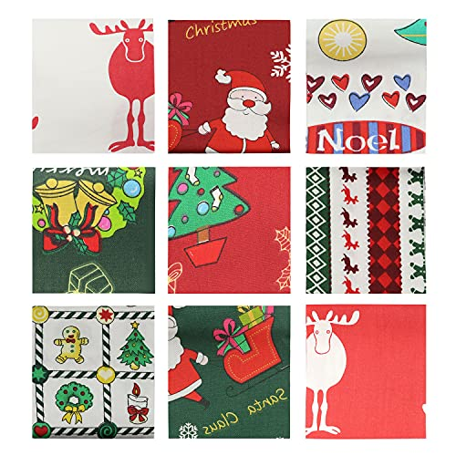 Batino 10pcs Jelly Roll Fabric Strips for Quilting Christmas Theme Quilting Fabric Patchwork with Different Patterns, 18 Inches x 22 Inches