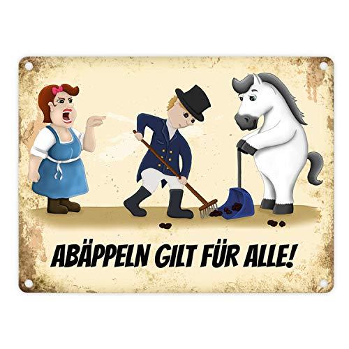 trendaffe - Metallschild mit Reiter und weißes Pferd Motiv und Spruch: Abäppeln Gilt für alle