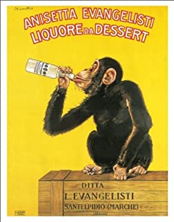 Beyond The Wall Biscaretti Anisetta Evangelist by Carlo Biscaretti Vintage Alcohol Advertising Art Poster Print (11x14 UNFRAMED Print)