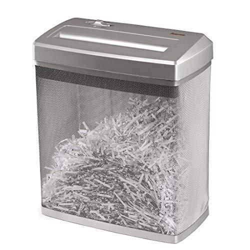 Hama Aktenvernichter (Kreuzschnitt-Schredder für 7 Blatt, Cross Cut Shredder für Papier und Kreditkarten, Sicherheitsstufe P-4 mit Vernichtung nach DSGVO, 14-Liter Metallkorb) silber
