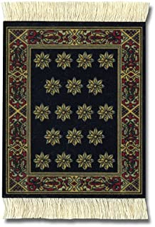 "Lextra (Country Heritage Stars), CoasterRug, Black and Gold, 5.5"" x 3.5"", Set of Four"