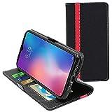 ebestStar - Cover Compatibile con Xiaomi Mi 9 SE Custodia Portafoglio Pelle PU Protezione Libro Flip, Nero/Rosso [Mi 9 SE: 147.5 x 70.5 x 7.5mm, 5.97'']