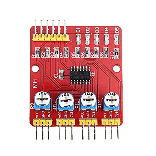 Módulo electrónico 4CH canales infrarrojos Módulo de Rastreo de la patrulla de cuatro vías 3pcs sensor for Robot de coches de evitación de obstáculos Equipo electrónico de alta precisión