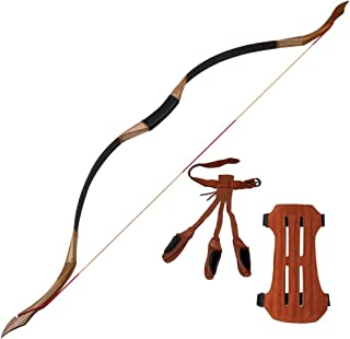 I-Sport Archery Traditional Recurve Longbow for Practice Hunting Shooting Target Handmade Wooden Mongolian Horsebow Protector Finger Guard Arm Guard 30lbs-50lbs