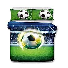 Juego de Funda Nórdica 3D Diseño de Fútbol con Fundas de Poliéster Microfibra Los Deportes Juego de Fundas de Edredón Incluye Funda Nórdica y Funda de Almohada (Fútbol 06, 180 × 220cm- Cama 105cm)