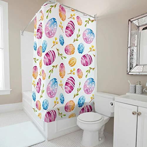Wecrayon Ostern Kaninchen Ei Duschvorhang Anti-Schimmel Wasserdicht Waschbar Stoff Duschvorhäng Polyester Textil Badezimmer Vorhang mit Ringe für Badewanne White 150x200cm