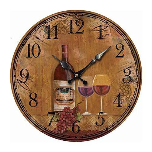 DIDA CLOCK 12 Zoll Weinmotiv Wanduhr,Classic Vintage Retro Landhausstil Weinberg Dekoriert Uhr Stille Nicht Tickende Wanduhr 2# 30cm(12inch)