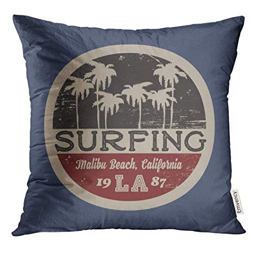 Throw Pillow Cover-The of Surfing and Surf in California Malibu Beach Grunge Vintage Design Stamp Graphics Decorative Pillow Case Home Decor Square (18x18 Inches) Pillowcase