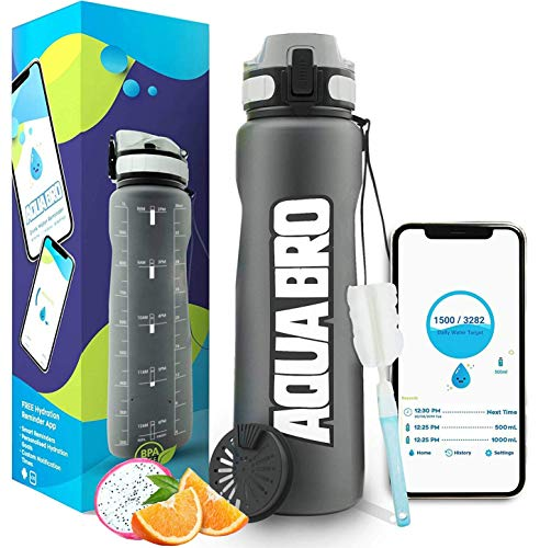 Aquabro Motivational Water Bottle 32 ounce | Drink Reminder APP | Time Marker 1 Liter Leakproof Fruit Infuser Non-Toxic for Sports