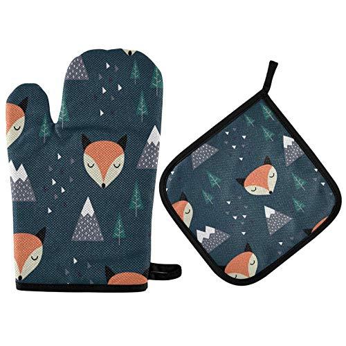 Juego de guantes y soporte para ollas de árbol de montaña Fox de dibujos animados, guantes de cocina resistentes al calor para cocinar, hornear, asar, barbacoa