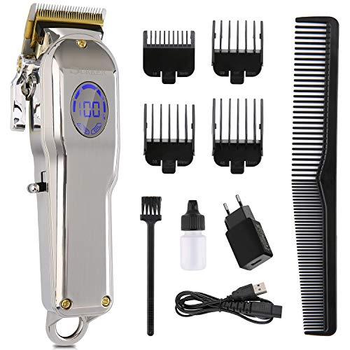 Haarschneidemaschine, 10 in 1 Profi Haarschneider Set für Herren mit 4 Kämm, Ladestation, LCD Anzeige Wiederaufladbare Haartrimmer