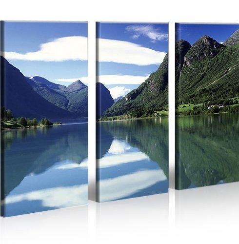 Quadro moderno panorama la Noruega Impresión sobre lienzo–Quadro X sillones salón cocina muebles oficina casa–Fotográfica Tamaño XXL