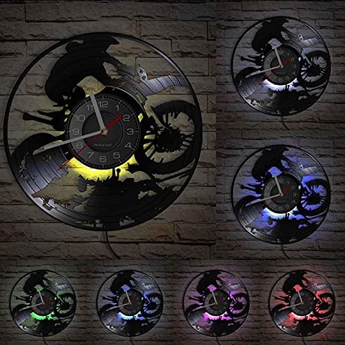 XYVXJ Motocycle Motocross Reloj de Pared Hecho de Disco de gramófono Retro Reloj de Vinilo con Disco de Moto para piloto